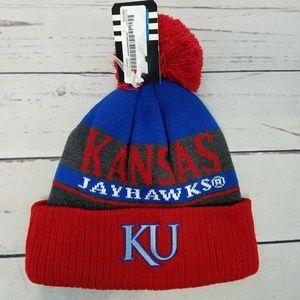 Kansas Jayhawks Adidas Boys Youth Pom Beanie